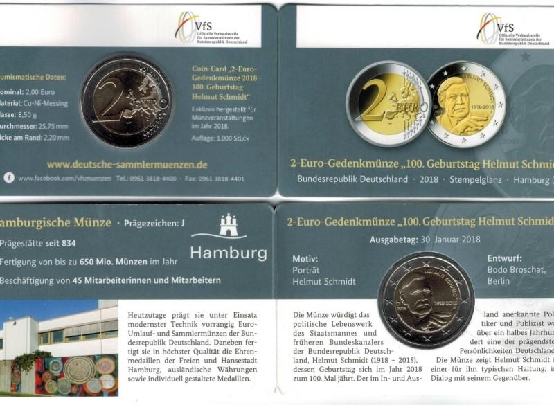 Duitsland 2 Euro 2018 Coincard Helmut Schmidt