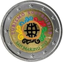 San Marino 2 Euro 2017 Duurzaam Toerisme Gekleurd