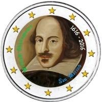 San Marino 2 Euro 2016 William Shakespeare Gekleurd