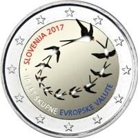 Slovenie 2 Euro 2017 10 Jaar Euro in Slovenie Gekleurd
