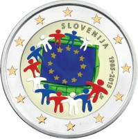 Slovenie 2 Euro 2015 30 jaar Europese vlag Gekleurd