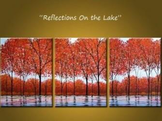"""""""Reflectie"""" Nieuw Mooi Herfst Olieverfschilderij"""