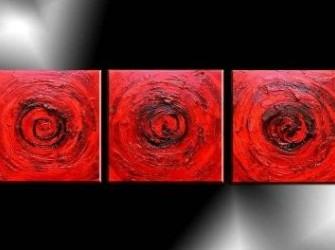 Rode Cirkels Prachtig Abstract Olieverfschilderij