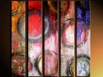 """Bollo"" Prachtig Abstract Olieverfschilderij"