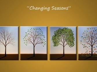 """""""Vier Jaargetijden"""" Origineel Olieverfschilderij"""