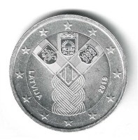 Letland 2 Euro 2018 Baltische Onafhankelijkheid Verzilverd