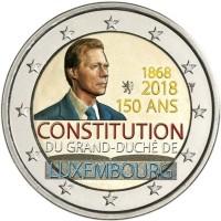 Luxemburg 2 Euro 2018 150 Jaar Grondwet Gekleurd