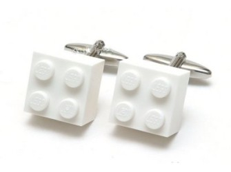Grappige manchetknopen met witte lego blokjes