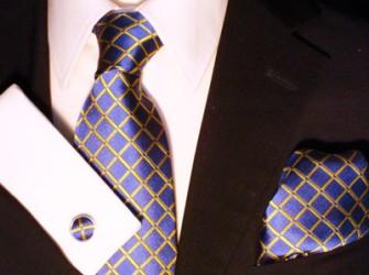 Blauw geruite Lorenzo Martelli stropdas set
