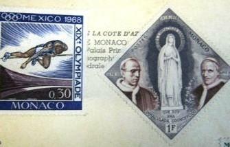 Ansichtkaart Monaco met 6 ongestempelde thema postzegels,gs…