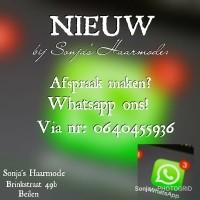 Afspraken maken via Whatsapp bij Sonja's Haarmode!