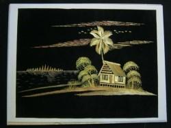 2 Reliefschilderijen gemaakt van riet,Indonesië,gst,lijst