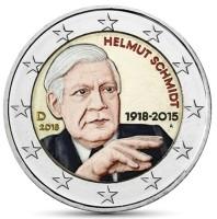 Duitsland 2 Euro 2018 Helmut Schmidt Gekleurd