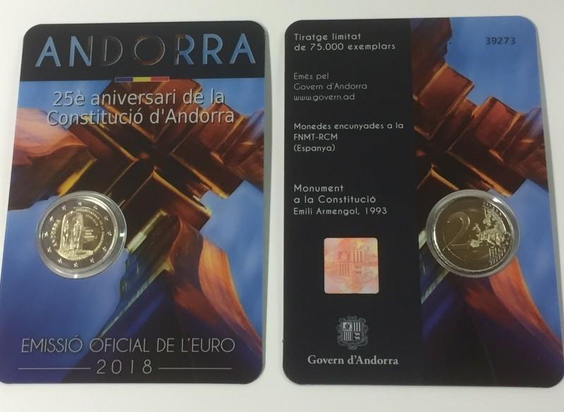 Andorra 2 Euro 2018 25 Jaar Constitutie Andorra
