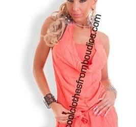 Jumpsuit overall catsuit short cotton roze zalm co