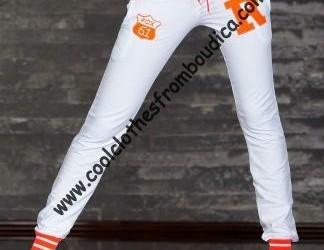 Joggingbroek disco party wit/neon oranje