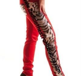 Legging rood leopard stretch broek tregging rood