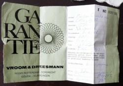 Oud garantiebewijs Vroom & Dreesman 1975