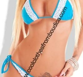 Bikini blauw wit lace kant strass bling sexy badmo