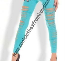Legging lycra ripped look aqua dance disco party