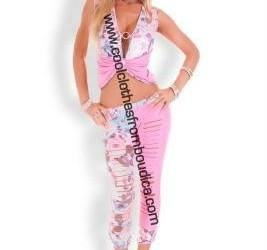 Legging set roze ripped look legging & top