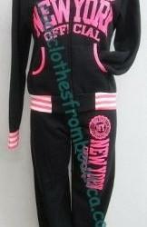 Joggingpak trainingspak NY Black Neon Pink