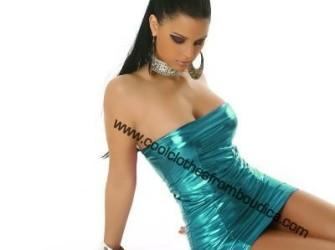 Metallic tube dress turkoois blauw club party wear