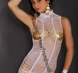 Net jurk coll wit visnet doorschijnend jurkje wit