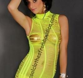 Net jurk col neon geel visnet doorschijnend jurk