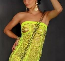 Net jurk neon geel bandeau club wear