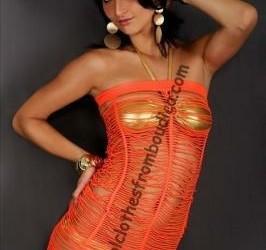 Net jurk neon oranje bandeau club wear