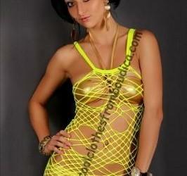 Spider net jurk neon geel gothic punk club wear