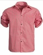 Tiroler blouse M, L, XL en XXL rood en blauw 100% katoen