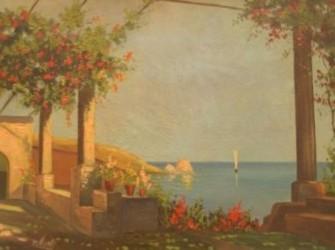 Landschap in originele jaren 50 lijst 100 x 80 cm