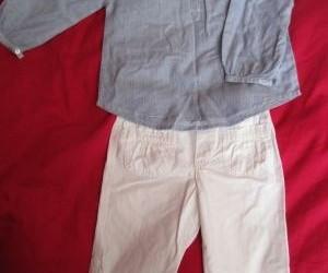 witte broek + lichtblauw blousje