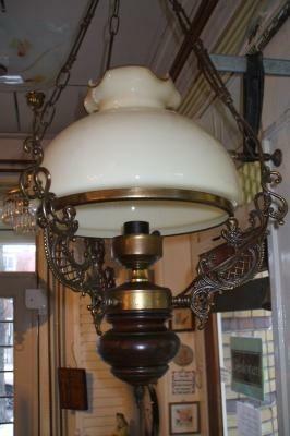 Hanglamp vintage glas en hout