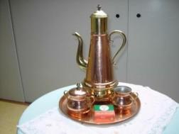 Belgische  koperen koffieset.