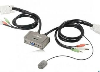 Edimax 2 port KVM Switch with cables and audio support