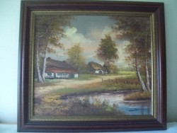 Schilderij, boerderij bij landweggetje