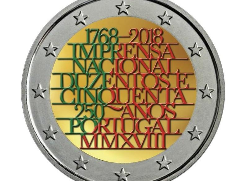 Portugal 2 Euro 2018 250 Jaar Nationale Drukkerij Gekleurd