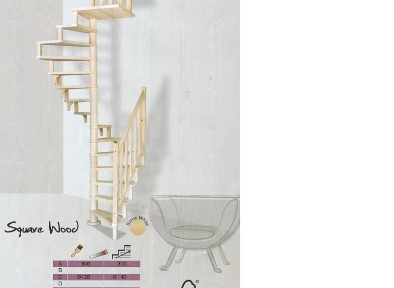 Vierkante draaitrap de Square wood 140 cm bij trappenspecia…