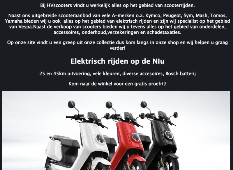HV Scooters ook voor Elektrisch rijden op Nlu
