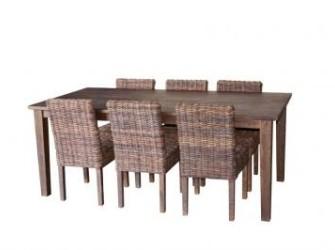 tafel met 6 stoelen in rotan NIEUW ! !