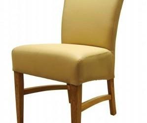 6 creme rundleren stoelen, eiken poot