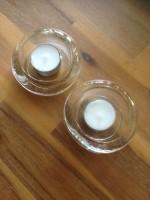 2 Glazen waxinelichthouder voor grote waxinelichtjes