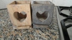 E 2 samen -> Windlichtjes, 2 stuks, van hout