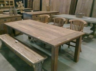 Dinclick tafel geleefd teak hout 220cm
