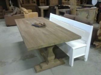 Kasteeltafel sierlijke kolompoot teak hout 225cm