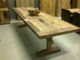 H2 geleefde kasteeltafel teak hout 225cm