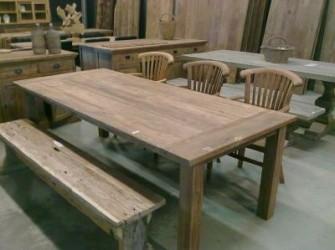 Dinclick tafel geleefd teak hout 200cm